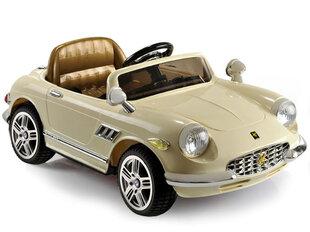 Детский одноместный ретро-электромобиль с кожаным сиденьем, кремового цвета