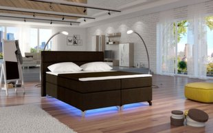 Lova Amadeo su LED apšvietimu, 180x200 cm, gobelenas, ruda