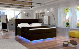 Lova Amadeo su LED apšvietimu, 180x200 cm, dirbtinė oda, ruda