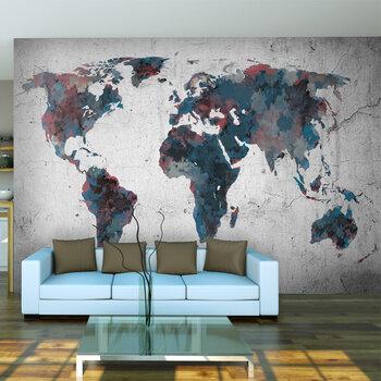 Fototapetas - World map on the wall kaina ir informacija   Fototapetai   pigu.lt