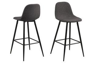 2-jų baro kėdžių komplektas Wilma, tamsiai pilkas kaina ir informacija | Virtuvės kėdės | pigu.lt