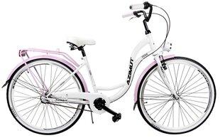 "Товар с повреждённой упаковкой. Moteriškas miesto dviratis Azimut Vintage 28"" Nexus-3 2019, baltas/rožinis"