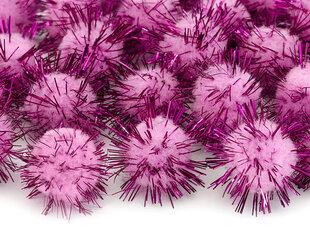 Pūkuočiai su blizgučiais, rožiniai, 2 cm, 1 pak/20 vnt kaina ir informacija | Dekoracijos šventėms | pigu.lt