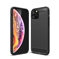 "TakeMe CARBON effect TPU super thin back cover case for Apple iPhone 11 (6.1"") Black kaina ir informacija 