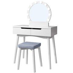 Kosmetinis staliukas Selsey Gaga su veidrodžiu, baltas kaina ir informacija | Kosmetiniai staliukai | pigu.lt