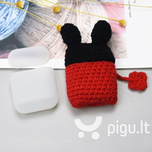 Ausinių dėklas Hurtel silicon case box with a wool cap for AirPods 1/2 Mouse
