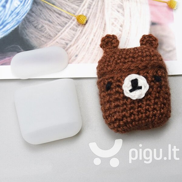 Ausinių dėklas Hurtel silicon case box with a wool cap for AirPods 1/2 Bear