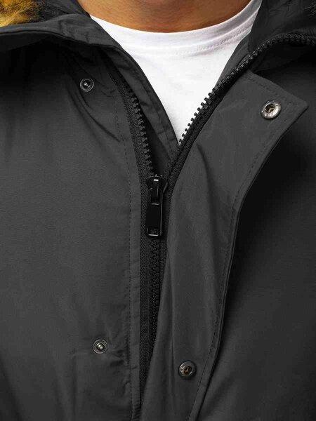 Bomber stiliaus žieminė tamsiai pilka vyriška striukė Lemor
