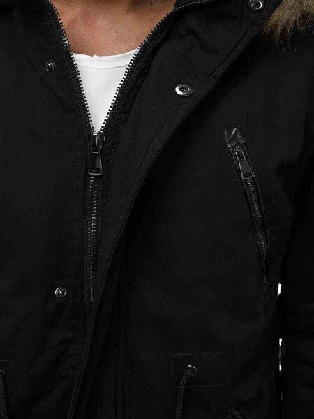 """Vyriška juoda žieminė striukė su kailiniu gobtuvu """"Zigal"""" internetu"""
