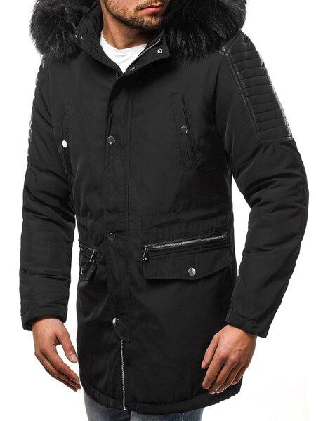 """Vyriška juoda žieminė striukė su odinėmis detalėmis """"Black"""" atsiliepimas"""