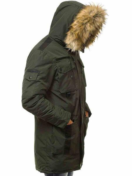 """Vyriška žieminė striukė žalios spalvos su kailiniu gobtuvu """"Fit"""""""