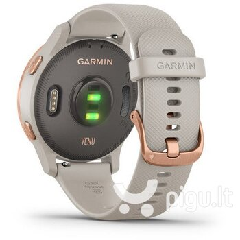 Išmanusis laikrodis Garmin Venu, Rose Gold Stainless Steel Bezel with Light Sand Case and Silicone Band pigiau