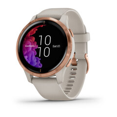 Išmanusis laikrodis Garmin Venu, Rose Gold Stainless Steel Bezel with Light Sand Case and Silicone Band kaina ir informacija | Išmanusis laikrodis Garmin Venu, Rose Gold Stainless Steel Bezel with Light Sand Case and Silicone Band | pigu.lt