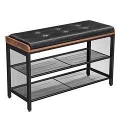 Prieškambario suoliukas Songmics 48 cm, rudas/juodas kaina ir informacija | Prieškambario suoliukas Songmics 48 cm, rudas/juodas | pigu.lt