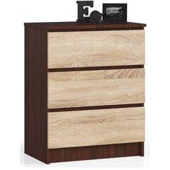 Komoda NORE K60 su 3-imis stalčiais, ruda/ąžuolo spalvos kaina ir informacija | Komoda NORE K60 su 3-imis stalčiais, ruda/ąžuolo spalvos | pigu.lt