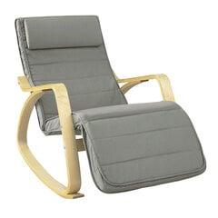 Supamas krėslas SoBuy FST16-DG, pilkas/rudas kaina ir informacija | Svetainės foteliai | pigu.lt