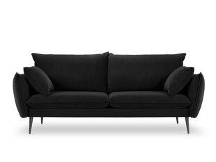 Trivietė aksominė sofa Milo Casa Elio, juoda kaina ir informacija | Sofos | pigu.lt
