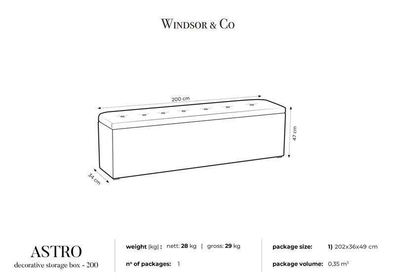 Pufas su daiktadėže Windsor and Co Astro 200, pilkas