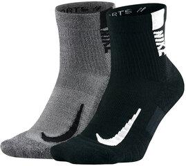 Nike Kojinės U NK Mltplier Ankle 2PR Grey Black kaina ir informacija | Vyriškos kojinės | pigu.lt