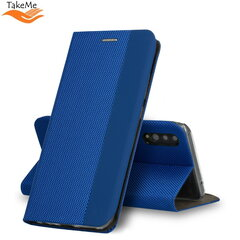 TakeMe Fabric series Smart magnetic fix book case for Samsung Galaxy S20 (G980) Blue kaina ir informacija | Telefono dėklai | pigu.lt