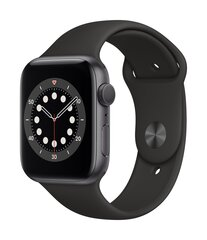 Išmanusis laikrodis Apple Watch Series 6 (GPS, 44 mm) - Space Gray Aluminum Case with Black Sport Band kaina ir informacija | Išmanusis laikrodis Apple Watch Series 6 (GPS, 44 mm) - Space Gray Aluminum Case with Black Sport Band | pigu.lt