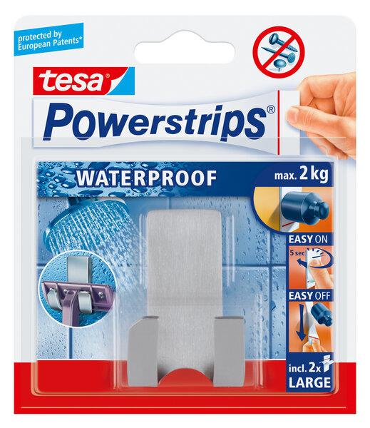 Tesa nerūdijančio plieno skustuvo laikiklis PowerStrips Waterproof Zoom 1vnt.