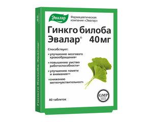 Maisto papildas Evalar, Ginkgo Biloba, 40 tablečių kaina ir informacija | Vitaminai ir maisto papildai gerai savijautai | pigu.lt