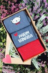 3 medvilninių kojinių porų dovanų rinkinys «PARIM VANAISA (GERIAUSIAS SENELIS)» kaina ir informacija | Vyriškos kojinės | pigu.lt