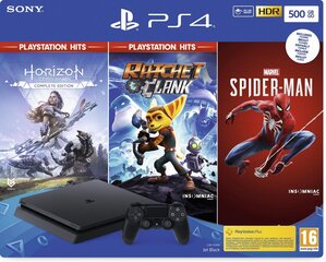 Sony PlayStation 4 (PS4) Slim, 500GB + Horizon Zero Dawn + Ratchet & Clank + Spider Man цена и информация | Игровые приставки | pigu.lt