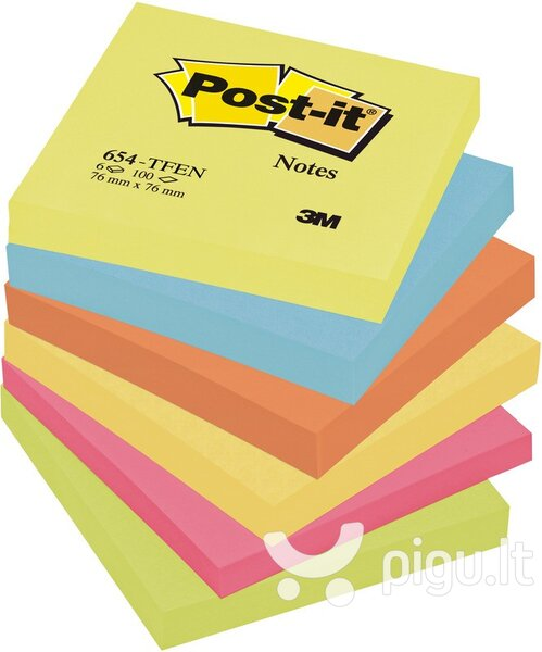 Lipnių lapelių kubas Post-It Energetic colours, 76x76 mm, 600 lapelių