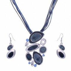 Vėrinys Retro su auskarais, mėlyna kaina ir informacija | Papuošalų rinkiniai | pigu.lt