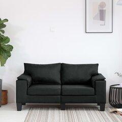 Dvivietė sofa, juodos spalvos, audinys kaina ir informacija   Dvivietė sofa, juodos spalvos, audinys   pigu.lt