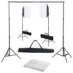 Fotostudijos komplektas su šviesdėžėmis ir fonu kaina ir informacija | Fotografijos apšvietimo įranga | pigu.lt