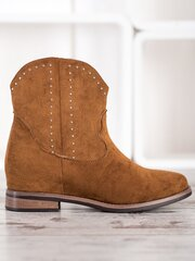 Aulinukai moterims Ideal Shoes, rudi kaina ir informacija | Aulinukai, ilgaauliai batai moterims | pigu.lt