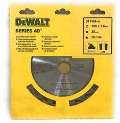 Pjovimo diskas medienai DeWalt Ø180x2,6x30 mm Z-20 kaina ir informacija | Mechaniniai įrankiai | pigu.lt