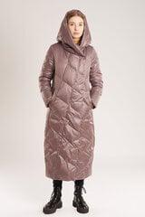 Ilgas pūkinis paltas moterims, rožinis kaina ir informacija | Striukės moterims | pigu.lt