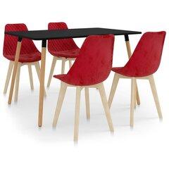 Valgomojo baldų komplektas, 5 dalių, raudonas kaina ir informacija | Valgomojo komplektai | pigu.lt
