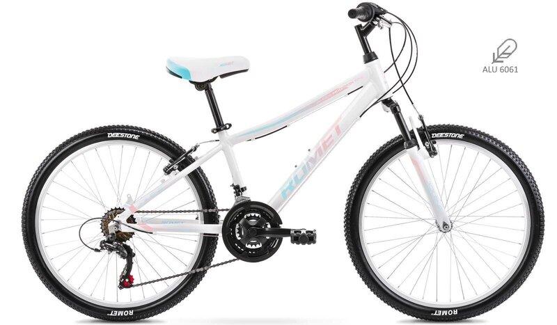 "Vaikiškas dviratis Romet Jolene 24"" Alu 2021, baltas"