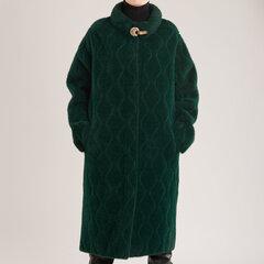 Ilgas alpakos megztukas-paltas, žalias kaina ir informacija | Paltai moterims | pigu.lt