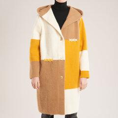 Įvairiaspalvis megztukas-paltas, rudas kaina ir informacija | Paltai moterims | pigu.lt
