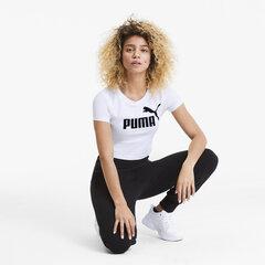 Laisvalaikio marškinėliai moterims Puma ESS+ Fitted Tee Puma 58139802, balti kaina ir informacija | Marškinėliai moterims | pigu.lt