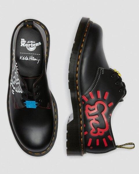 Bateliai moterims Dr. Martens 1461 Keith Haring Black Smooth 26834001, juodi