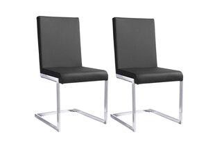 Modernus kėdžių komplektas Charise, juoda PU oda kaina ir informacija | Virtuvės ir valgomojo kėdės | pigu.lt