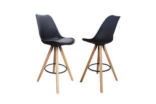 Modernus baro kėdžių komplektas Inka Black, juoda PU oda kaina ir informacija | Virtuvės ir valgomojo kėdės | pigu.lt