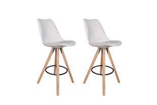 Modernus baro kėdžių komplektas Inka White, balta PU oda kaina ir informacija | Virtuvės ir valgomojo kėdės | pigu.lt