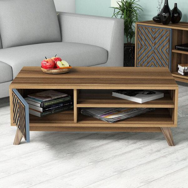 Svetainės baldų komplektas Kalune Design 845(I), tamsiai rudas/mėlynas atsiliepimas