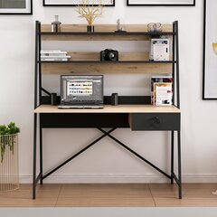 Rašomasis stalas Kalune Design 570 (I), juodas/šviesiai rudas kaina ir informacija | Kompiuteriniai, rašomieji stalai | pigu.lt