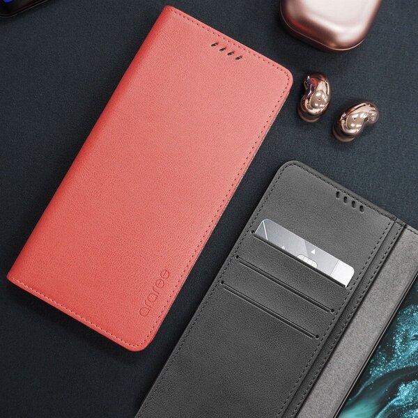 Telefono dėklas Araree Mustang Diary book skirtas Samsung Galaxy S21 Ultra, raudonas kaina