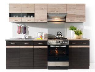 Virtuvinių spintelių komplektas Junona Line, ąžuolo/rudos spalvos kaina ir informacija | Virtuvės baldų komplektai | pigu.lt