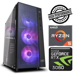 INTOP Ryzen 5 5600X 8GB 240SSD M.2 NVME+1TB RTX3060 12GB no-OS kaina ir informacija | Stacionarūs kompiuteriai | pigu.lt